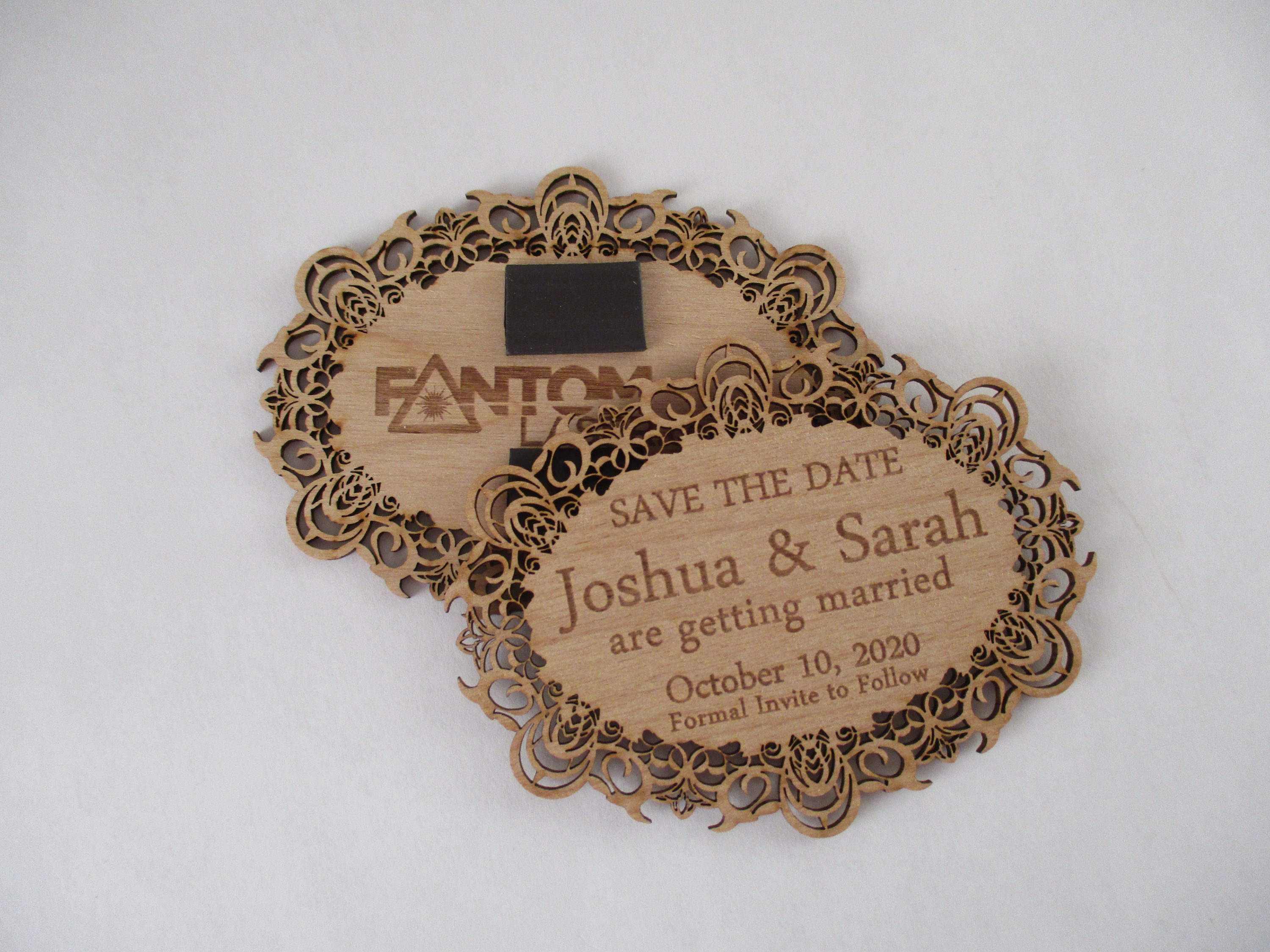 Custom Laser Cut and Engraved Save the Date Magnet