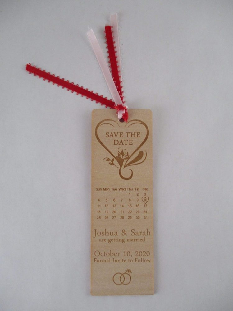 Custom Laser Cut and Engraved Save the Date Book Mark